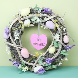 Personalised Rustic Spring Blossom Easter Egg Wreath