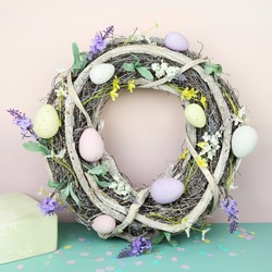 Rustic Spring Blossom Easter Egg Wreath