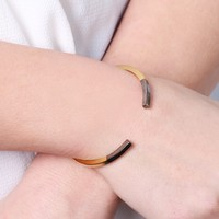 Gold Dipped in Black Bar Bangle