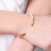 Silver Dipped in Gold Bar Bangle