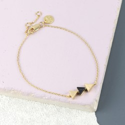 Black Marble Triple Triangle Bracelet in Gold