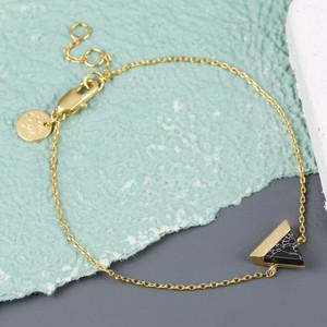 Black Marble Triangle Bracelet in Gold