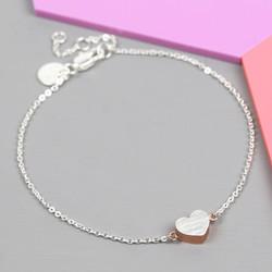 Brushed Silver and Rose Gold Heart Bracelet