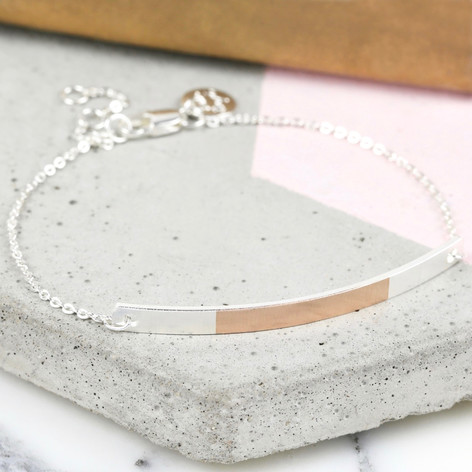 Silver & Rose Gold Dipped Curved Bar Bracelet