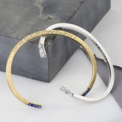 Personalised Semi-Precious Stone Tipped Bar Bangle
