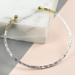 Silver and Gold Dipped Antique Effect Bar Bangle