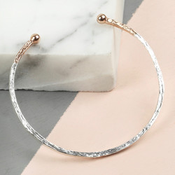 Silver and Rose Gold Dipped Antique Effect Bar Bangle