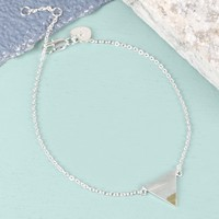 Silver Dipped in Gold Triangle Bracelet