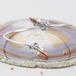 Silver Dipped in Rose Gold Feather Bangle