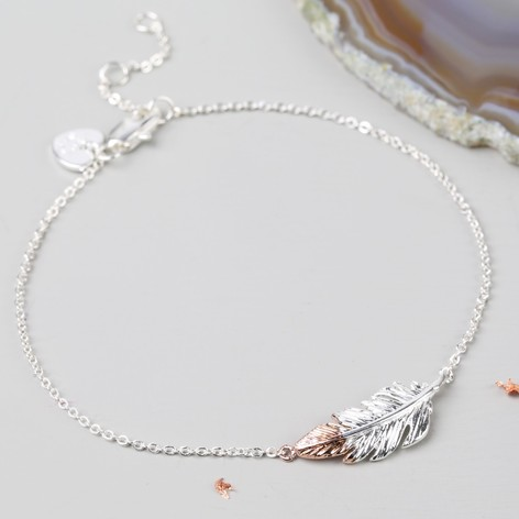 Silver Dipped in Rose Gold Feather Bracelet