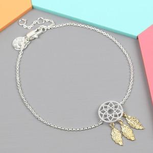 Silver and Gold Dreamcatcher Bracelet