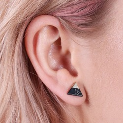 Black Marble Dipped in Gold Triangle Stud Earrings