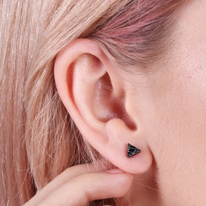 Rose Gold and Black Marble Triangle Stud Earrings