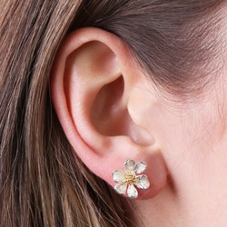 Silver and Enamel Flower Stud Earrings