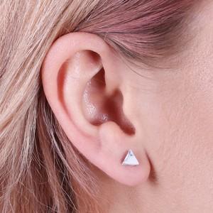 Silver White Howlite Stud Earrings