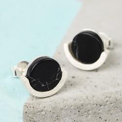 Black Marble Disc Stud Earrings in Silver