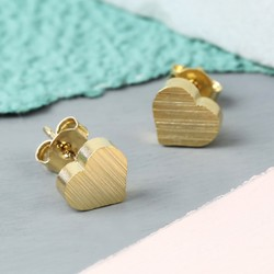 Brushed Gold Heart Stud Earrings