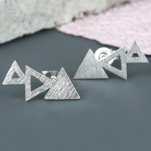 Brushed Silver Triple Triangle Stud Earrings