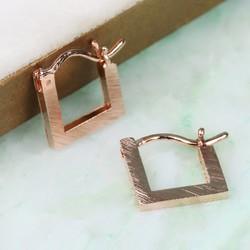 Delicate Rose Gold Square Hoop Earrings
