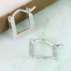 Delicate Silver Square Hoop Earrings