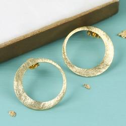 Etched Asymmetrical Hoop Stud Earrings in Gold