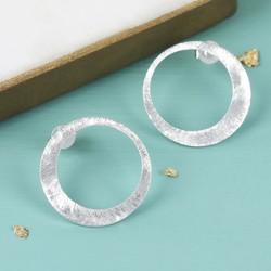 Etched Asymmetrical Hoop Stud Earrings in Silver