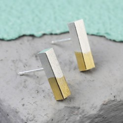 Silver Dipped in Gold Bar Stud Earrings