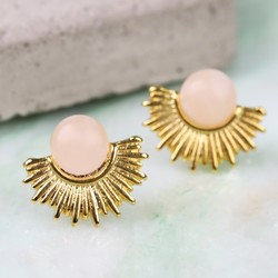 Gold and Rose Quartz Sun Stud Earrings