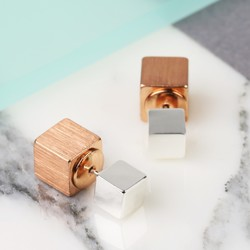Rose Gold and Silver Double Cube Earrings