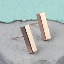 Rose Gold Bar Stud Earrings