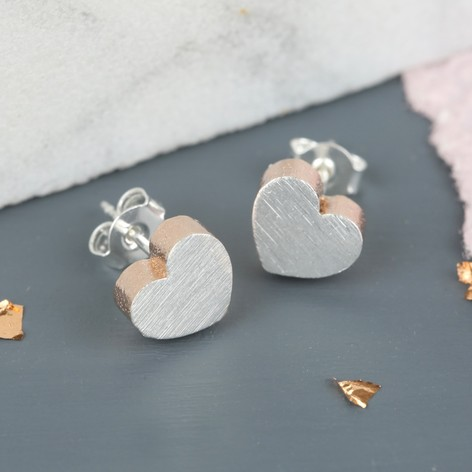 Brushed Silver & Rose Gold Heart Stud Earrings
