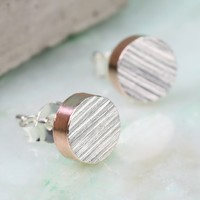 Rose Gold Edged Silver Disc Stud Earrings
