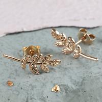 Rose Gold Fern Leaf Stud Earrings