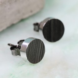 Silver Edged Black Disc Stud Earrings
