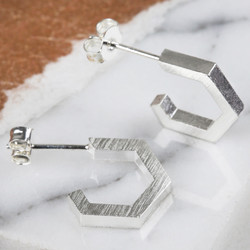 Small Silver Hexagonal Hoop Earrings