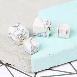 White Marble Double Cube Earrings in Silver