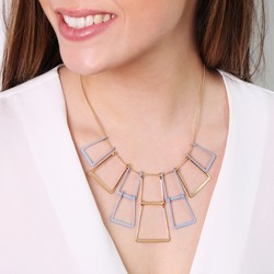 Geometric Matt Linked Squares Pendant Necklace in Blue