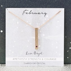 Swarovski Birthstone Bar Necklace in Rose Gold