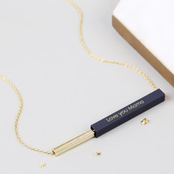Engraved Secret Message Bar Necklace