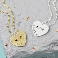 Personalised Button Heart Name Necklace