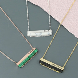 Personalised Double Horizontal Semi-Precious Bar Necklace