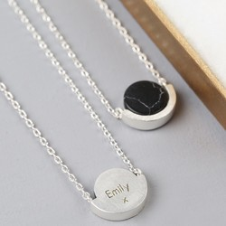 Personalised Marble Disc Pendant Necklace