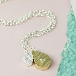 Personalised Mother & Baby Double Droplet Necklace in Silver and Gold