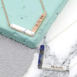 Personalised Semi-Precious Stone Chevron Necklace