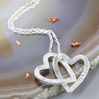 Personalised Silver Interlocking Hearts Pendant Necklace