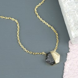 Black Marble Hexagonal Pendant Necklace in Gold