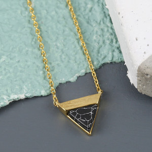 Black Marble Triangle Pendant Necklace in Gold