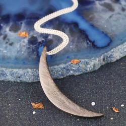 Brushed Black Crescent Moon Necklace