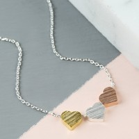 Brushed Mixed Metal Triple Heart Necklace