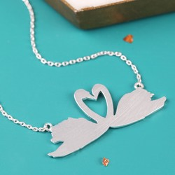Brushed Swans Necklace in Silver